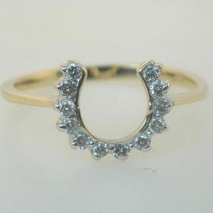 New Genuine Diamond Horseshoe Ladies Diamond Ring